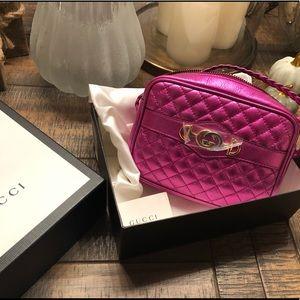 New Gucci Metallic Leather Camera Bag